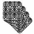 House of Hampton® Intricate Detailed & Fancy Damask Pattern Ceramic Tile Coaster Ceramic in Black, Size 0.25 H x 4.25 D in | Wayfair