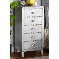 Longshore Tides Phoebe French Industrial Silver Metal 5-Drawer Accent ChestWood/Metal in Brown/Gray, Size 36.61 H x 17.72 W x 13.78 D in   Wayfair