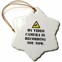 The Holiday Aisle® Warning My Video Camera Is Recording You Now Snowflake Holiday Shaped Ornament Ceramic/Porcelain in Black   Wayfair