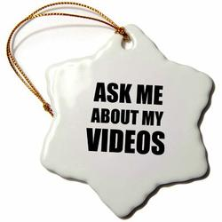 The Holiday Aisle® Ask Me About My Videos Snowflake Holiday Shaped Ornament Ceramic/Porcelain in Black, Size 3.0 H x 3.0 W x 0.0625 D in | Wayfair