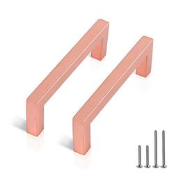 (10 Pack) Probrico Rose Gold Cabinet Pulls Square Dresser Handles 3-3/4 Inch(96mm) Hole Center Drawer Pulls Stainless Steel Cupboard Closet Pulls Kitchen Cabinet Hardware