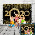 2020 New Year Themed Photography Backdrop, Party Backdrops for Photography Eve Celebration, Black Gold Photo Booth Party Banner Supplies Photo Background Birthday Family Photos Decor (7x5 Feet)