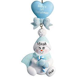 Baby's First Christmas Baby Keepsake Baby 2021 Ornament – Baby Boy First Christmas Ornament – Blue Candy Cane Snow Baby Ornaments for Baby Christmas – My First Christmas Baby Boy Ornament