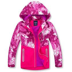 YILLEU Boys Girls Rain Jackets Hooded Fleece Lined Waterproof Lightweight Coats Windbreakers Raincoats for Kids Pink Camo Small