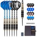 Brass Darts 24 Gram Steel Darts, 6 Carving Aluminum Shafts, 6 Darts Flights, 6 Anti-Loose Rubber Rings, Darts Sharpener