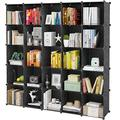 "KOUSI Portable Storage Cubes-14"" x14""(Load-Bearing Metal Panel) Modular Bookshelf Units,Clothes Storage Shelves,Room Organizer,Black,25 Cubes"