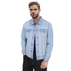 X RAY Mens Denim Jacket Washed Casual Trucker Jean Jacket for Men, Light Blue, Medium