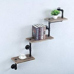 GWH Industrial Pipe Shelf Wood Shelves Wall Mounted,Metal Pipe Shelves Floating Book Shelves,Steampunk Wall Shelves for Bedrooms Office,Rustic Wall Shelving 3 Tier Bookshelf Wall Shelf Wood Shelf