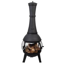 """Millwood Pines Houle Stove Cast Iron Wood Burning Chiminea, Cast Iron/Iron in Black, Size 47""""H X 17""""W X 17""""D 