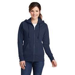 Port & Company Womens Ladies Classic Full-Zip Hooded Sweatshirt LPC78ZH -Navy L