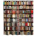 Bookshelf Shower Curtain Library Bibliophile Theme Cloth Fabric Bathroom Decor Set with Hooks Waterproof Washable 72 x 72 inches