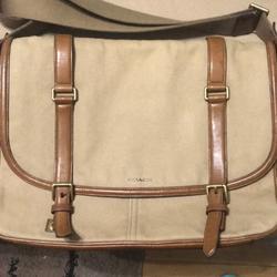 Coach Bags | Authentic Coach Messenger Canvas Leather Bag | Color: Brown/Tan | Size: 17l , 12h, 3w