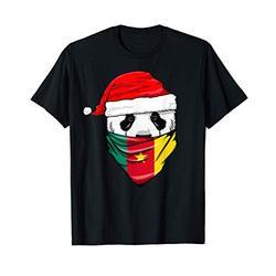 Panda in Santa's Hat and Cameroon Flag Bandana Christmas T-Shirt
