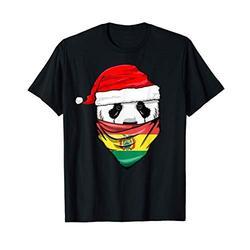 Panda in Santa's Hat and Bolivia Flag Bandana Christmas Gift T-Shirt