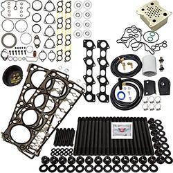 6.4L Revive Kit #4 w/Aftermarket Studs Head Gaskets Oil Cooler Int & Exh Gaskets Coolant Filtration Kit Degas Cap - Fits Ford 6.4L 6.4 Powerstroke Kit - 2008-2010 - DK Engine Parts