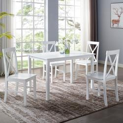 5-Piece Solid Wood Farmhouse Dining Set in White/White - Walker Edison TW485PCXBWH