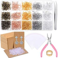 Fish Hook Earrings for Jewelry Making, Paxcoo 2200pcs Earring Making Supplies Kit with Earring Hooks, Jump Rings, Pliers, Earring Backs and Cards for DIY Earring Supplies and Earring Findings