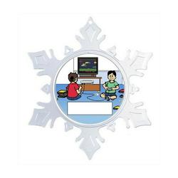 The Holiday Aisle® Personalized NTT Cartoon Snowflake Video Gamer Juvenile Boy Christmas Holiday Shaped Ornament Plastic in Blue/Green | Wayfair