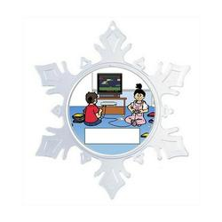 The Holiday Aisle® Personalized NTT Cartoon Snowflake Video Gamer Juvenile Girl Christmas Holiday Shaped Ornament Plastic in Blue/Pink | Wayfair