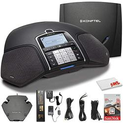 Konftel 300Wx Wireless Conference Phone w/Analog DECT Base Station + Sandisk 16GB Card to Record Calls + Cleaning Cloth and More - Conference Room Bundle