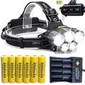 2500LM Rechargeable Headlamp Head Light Super Light T6 IP6 LED Torch Lamp With 6 Pack 18650 9800mAh Rechargeable Battery and 1 Pcs USB 4-slot Battery Charger