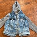 American Eagle Outfitters Jackets & Coats | Ae Ripped Jean Jacket With Gray Sleeves And Hoodie | Color: Blue/Gray | Size: S