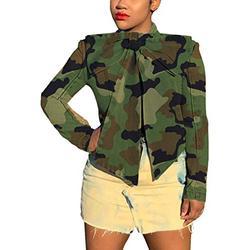 Denim Jacket for Women Camouflage Winter Long Sleeve Classic Distressed Butterfly Jean Trucker Jackets