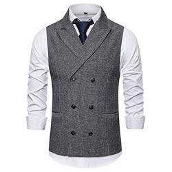 Mens Slim Fit Dress Vest Plaid/Stripes Double Breasted Vest Waistcoat Formal Premium Button Down Vest Light Gray