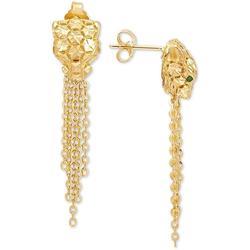 Effy Oro By Effy® Panther Tassel Drop Earrings In 14k Gold - Metallic - Effy Earrings