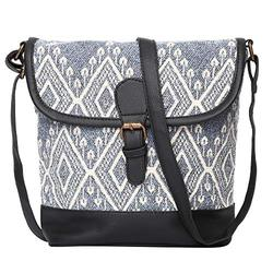 """STUDIO99 Women Crossbody Sling Flap Over Bag-Boho Jacquard Canvas and Vegan PU Leather with Magnetic Snap Closure for Ladies, Teens, Girls (10.5 x 11 x 4.5""""; Gray)"""