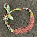 Anthropologie Accessories   Anthropologie Rose Beaded Tie Necklace   Color: Blue/Pink   Size: Os