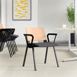 Upper Square™ Dalton Four Leg Multi-Purpose Stackable ChairWood/Metal/Fabric in Gray, Size 31.25 H x 21.0 W x 21.25 D in | Wayfair PL4AIR
