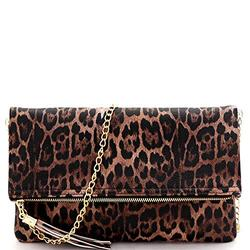 Leopard Tiger Print PU Leather Suede Clear Envelope Flap Slim Large Clutch Purse with Chain Strap (Flod-over Style with Tassel - Brown)