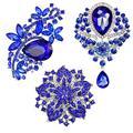 Reizteko Wedding Bridal Big Crystal Rhinestone Bouquet Brooch Pin for Women (Style a: 3pcs Blue brooches Set)