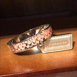 Coach Accessories | Authentic Vintage Coach Bangle Bracelet | Color: Pink | Size: Os