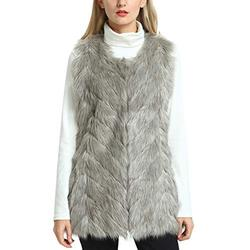 Winter Faux Fur Vest Long, YIDUODE Women Fashion Faux Fur Vest Warm Fluffy Long Fur Vest Waistcoat Fuzzy Plus Size Collarless Sleeveless Faux Fur Vest Coat Jacket Valentine's Day Gift for Mom Light Grey, M
