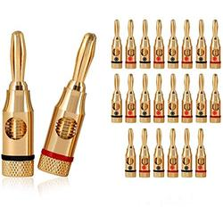 24K Gold Plated Speaker Banana Plugs – 12 Pairs/ 24 pcs – Open Screw Type, for Speaker Wire, Home Theater, Wall Plates and More (12 Red, 12 Black)
