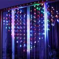 OSALADI Heart Shaped Curtain Lights, LED Window Curtain Lights Outdoor Heart Lights for Bedroom, Party, Wedding, Valentine Decorations (Without Battery Colorful)