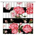 Lileihao Flower Shower Curtain Set, Black White Geometric Patterns Print Watercolor Rose Floral Plant Bathroom Decor Home Bath Bathtub Accessories Polyester Fabric Curtains 69 X 70 Inch with Hooks