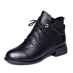 Zomgener Martin Boots Femme Style Britannique Bottes à Talons épais Bottes à Talon Bas en Cuir Bottes Simples Bottes Courtes -37_ Velours Noir