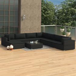vidaXL 9 Piece Garden Lounge Set with Cushions Poly Rattan Black
