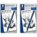 STAEDTLER premium quality drawing pencil, Mars Lumograph, graphite pencil set in metal tin, break-resistant super-bonded lead, design set of 12 degrees, 100 G12, 2 Pack