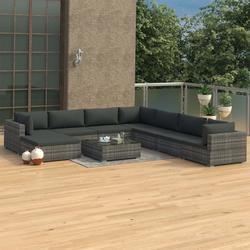 vidaXL 9 Piece Garden Lounge Set with Cushions Poly Rattan Gray