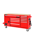 FRONTIER 62-inch W x 37-inch H x 22-inch D, Heavy Duty Mobile tool chest, tool cabinet with 10 drawers in Red
