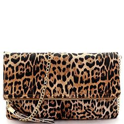 Leopard Tiger Print PU Leather Suede Clear Envelope Flap Slim Large Clutch Purse with Chain Strap (Flod-over Style with Tassel - Tan)
