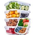Glass Meal Prep Containers 2 Compartment Meal Prep Containers Glass (36 Ounce, 5 Pack) - Glass Food Prep Containers Glass Divided Lunch Containers Glass Lunch Containers with Lids Glass Containers