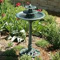 Moon_Daughter Green Color 3 Tier Outdoor Fountain Garden Decor Planter Water Bird Bath Birdbath with Pump Constructed Plastic