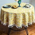 OstepDecor Round Tablecloth, Round Table Cloth, Cotton Linen Tablecloths, Table Cover for Kitchen Dinning Room Party, Round 72 Inch Dia, Yellow