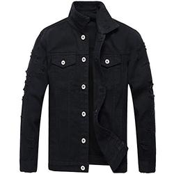 LZLER Jean Jacket for Men, Classic Ripped Slim Denim Jacket with Holes (Black2023, X-Large)