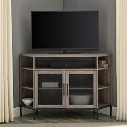 """Walker Edison Modern Metal Mesh and Wood Corner Universal TV Stand with Open Shelves Cabinet Doors Storage for TV's up to 55""""Flat Screen Living Room Storage Entertainment Center Grey Wash48 Inch"""